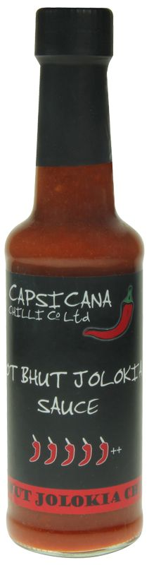 HOT BHUT JOLOKIA SAUCE - Crafted on our original Bhut Jolokia Sauce but with more than double the amount of Bhut Jolokia, this is a seriously hot chilli sauce - currently our hottest! Our Hot Bhut Jolokia Sauce is 100% handmade in small batches and contains no chilli extract.    Use as a flavoursome table condiment, cooking ingredient, seasoning & marinade for meat fish & vegetables.