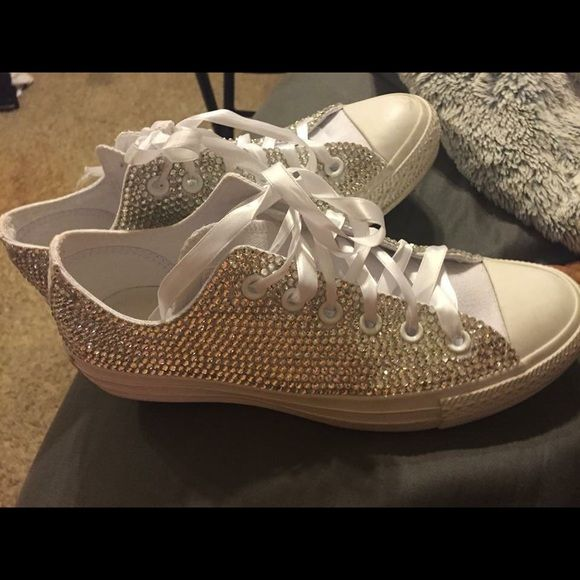 Custom sequin converse! Custom made converse I wore for my wedding!  Only worn once in great condition! (Converse run kinda big so they are a 8 but fit like a 9) price for these is firm! Converse Shoes Sneakers