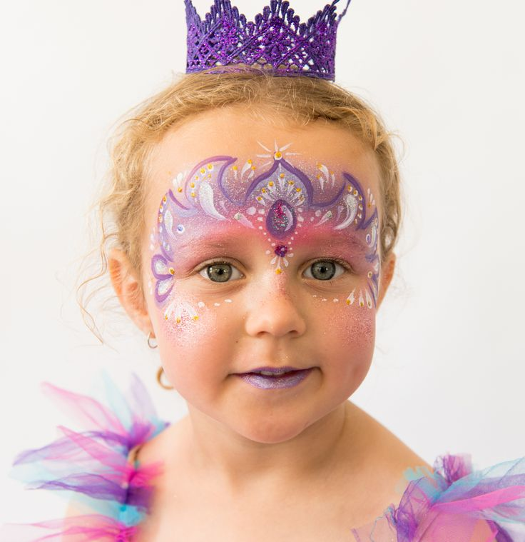 Purple Princess Face Painting design by Brisbane face painter, Fairy Sparkles Face Painting.