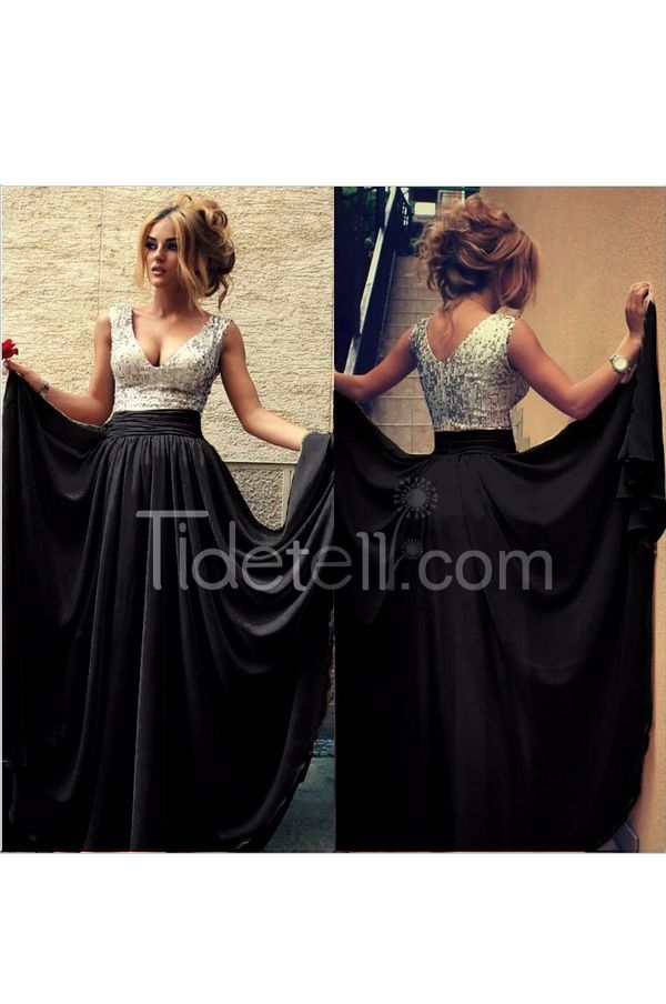 Sexy A-line V Neck Chiffon Long Prom Dress With Sequins