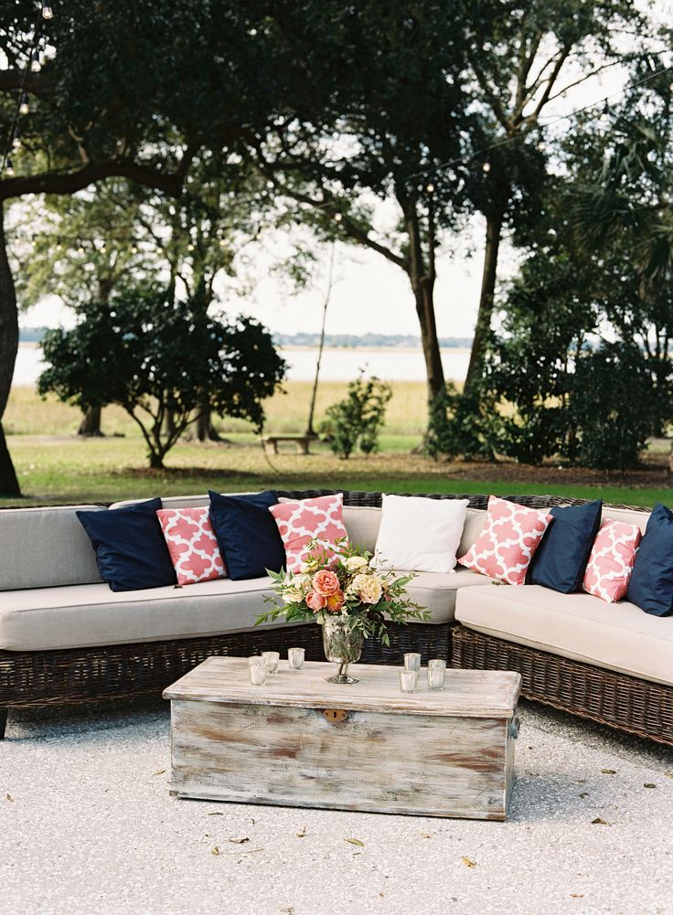 Preppy Outdoor Wedding Reception, Sectional Couch, Furniture Ideas, Navy  Blue And Pink Pillows