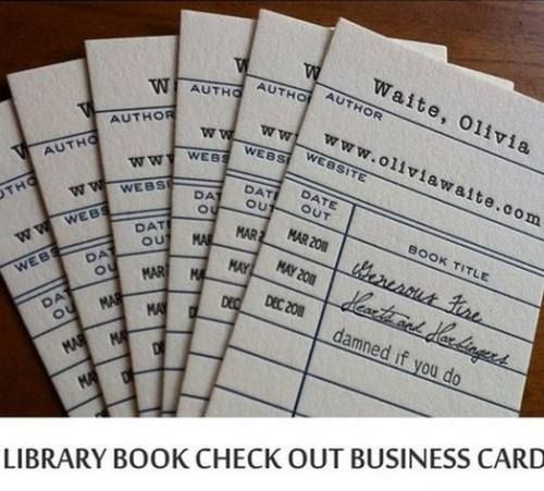 Library Book Check Out Business Cards
