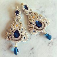 Parure soutache pendentif et boucles d'oreilles bleu par LaviBijoux