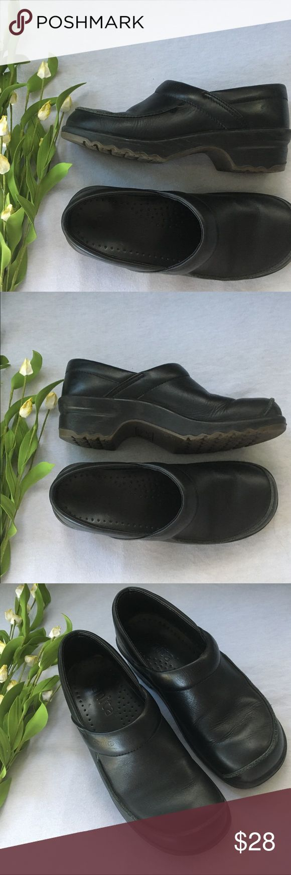 Sanita Black Mules Clogs size 37 These are in ver good condition. Shows some wear on leather trim around the front (see pics) but otherwise these are great shoes! Size 37/ 6.5 US (size chart conversion from Sanita site) Sanita Shoes Mules & Clogs