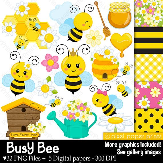 Busy Bee  Clip art and digital paper set  Bee by pixelpaperprints