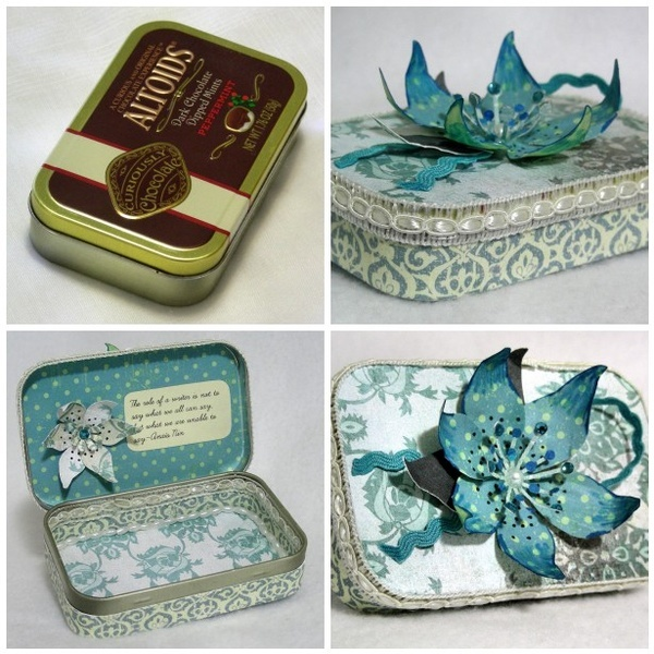 Upcycled altoids tin. Very pretty! don't know what Ill use it for