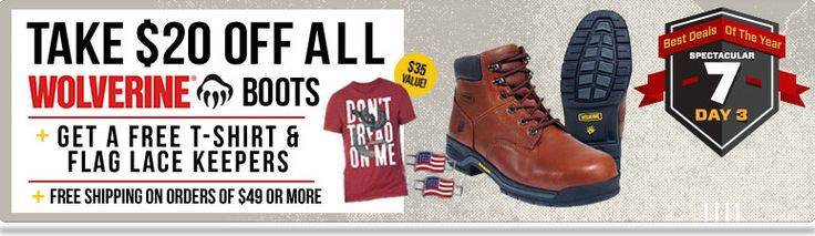 THIS DEAL HAS EXPIRED!  Take $20 Off All Wolverine Boots & Shoes + Get A FREE T-Shirt & Lace Keepers! This Amazing Thanksgiving Deal Won't Last!  Ends 11/28 @ Midnight!