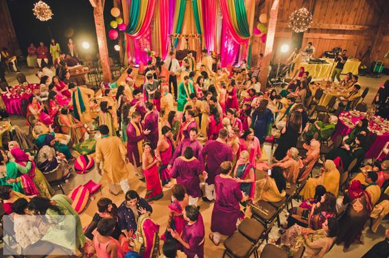 Henna Party Wedding : Singing and dancing at a pakistani mehndi party rustic