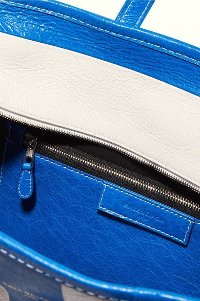 Balenciaga - Bazar Large Striped Textured-leather Tote - Blue - one size