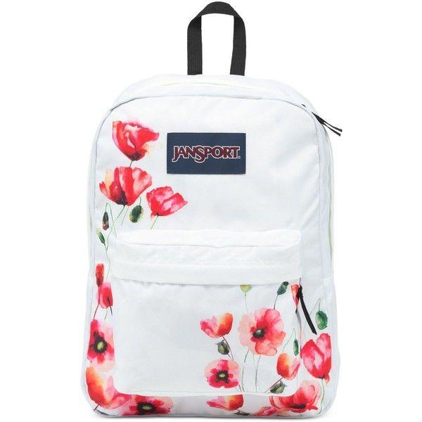 Jansport Superbreak Backpack in Multi California Poppy ($36) ❤ liked on Polyvore featuring bags, backpacks, mlt califn, jansport daypack, poppy bag, day pack backpack, jansport and jansport backpack