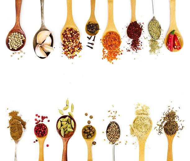 spices in spoons isolated on white background