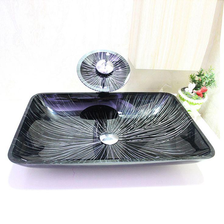 New g nstig Modern Waschbecken Bunt Rund Glas Aufsatz Waschschale mit Wasserfall Wasserhahn Set kaufen
