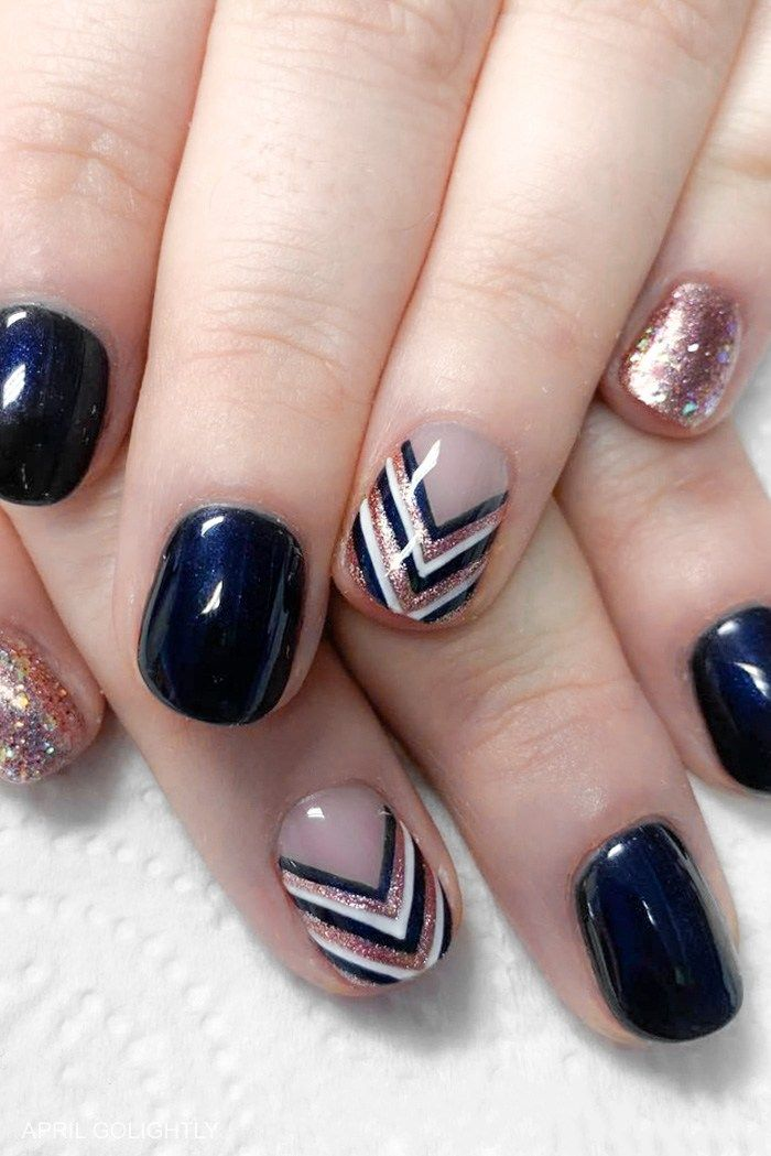 Navy and Rose Gold Nails Chevron nail art for January Nails #nails #nailart #nai…