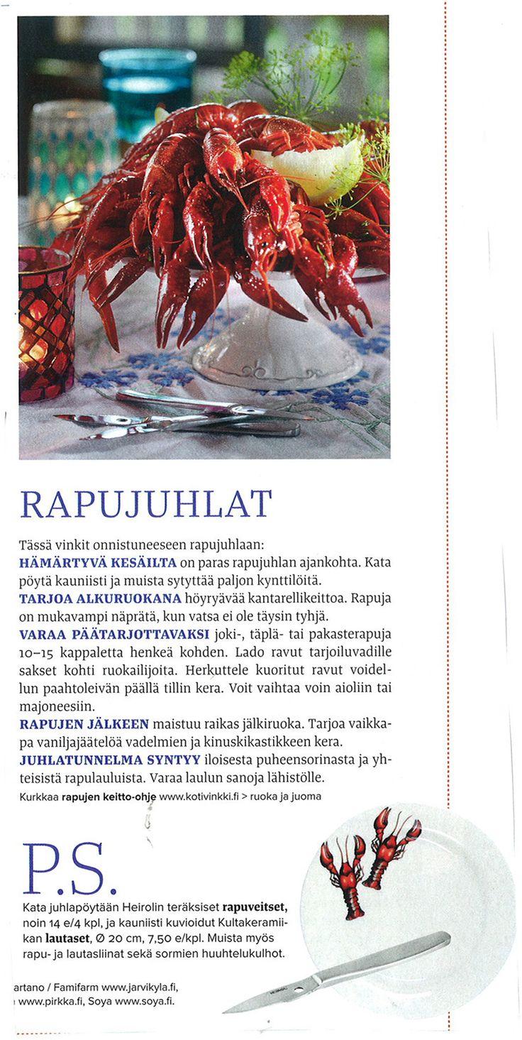 Kotivinkin vinkit rapujuhliin!  Kotivinkki 13/2013