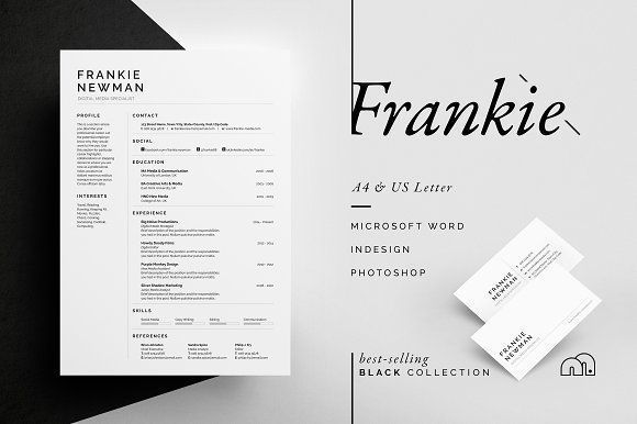 Resume/CV - Frankie by bilmaw creative on @creativemarket Professional printable resume / cv cover letter template examples creative design and great covers, perfect in modern and stylish corporate business design. Modern, simple, clean, minimal and feminine style. Ready to print us letter and a4 layout inspiration to grab some ideas. In psd, indd, docs, ms word file format. #resume #cv #template #professional #word #modern #creative #design