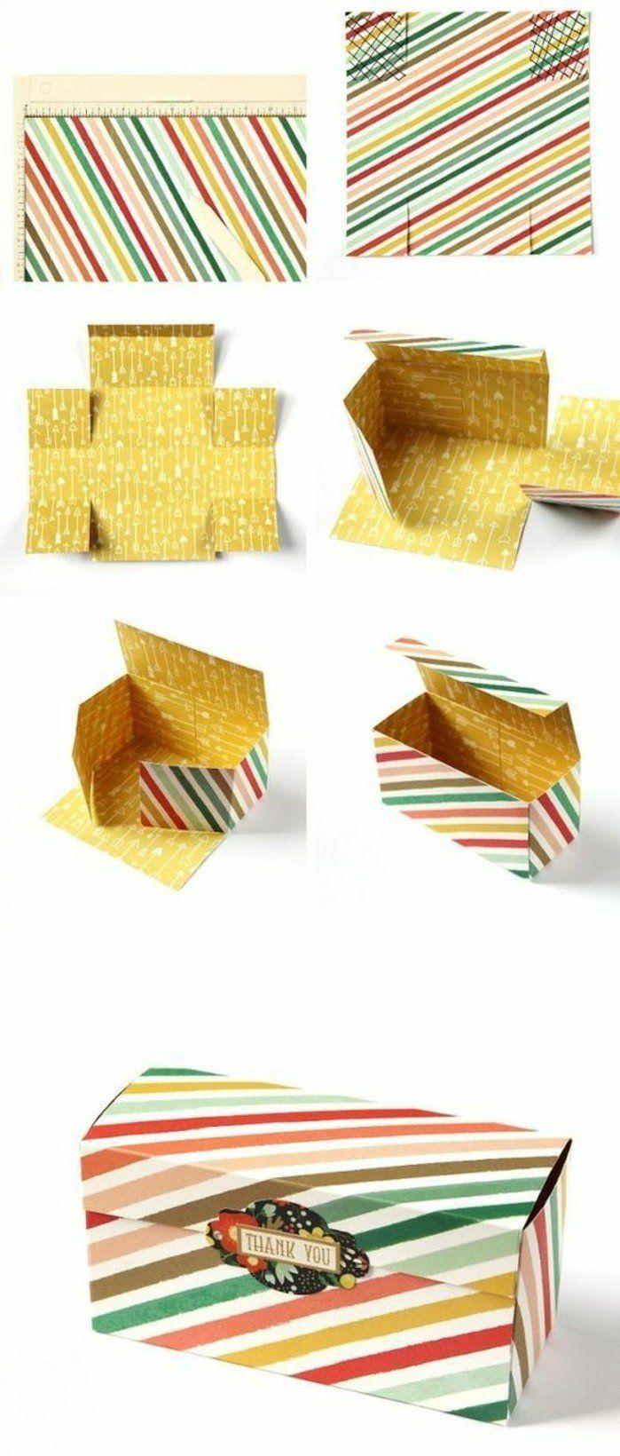 idée patron boite en papier et pliage pour fabriquer une boite en papier rectangulaire, déco de rayures à couelurs diverses