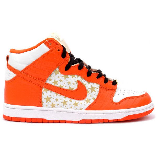 Kixclusive - Nike SB Dunk High 'Supreme' Orange ($700) ❤ liked on Polyvore featuring shoes, sneakers, nike, tenis, nike shoes, orange sneakers, nike footwear and nike sneakers