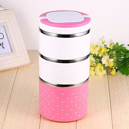 Insulation Thermal Lunch Box Stainless Steel Food Storage Container Portable Bento Box With Handle Cute Dot Pattern 1/2/3 Layers ( Color : Pink , Size : 1200ML )