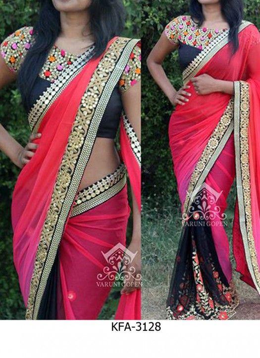 Buy Black & Pink Spry Georgette Designer Saree