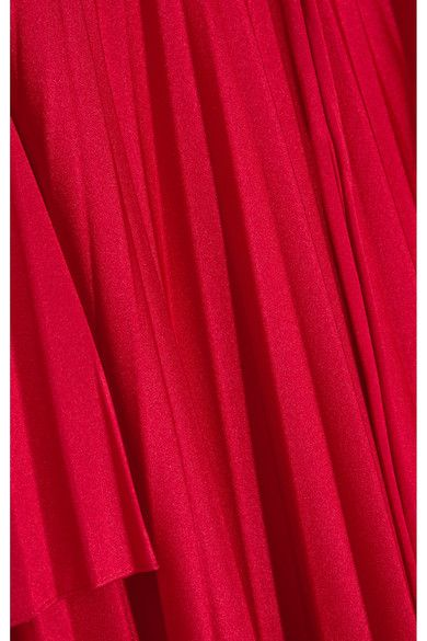 Balenciaga - Convertible Pleated Stretch-satin Halterneck Dress - Red - FR38