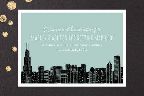 """""""Big City - Chicago"""" - Destination, Modern Save The Date Cards in Mint Green by Hooray Creative."""