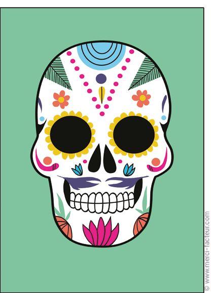 #carte #dessin #photo #squelette #fleurs #toussaint #bouquet #card #calavera #skull #flowers #drawing #allsaints Carte Cr�ne d�cor� dia de los muertos pour envoyer par La Poste, sur Merci-Facteur !