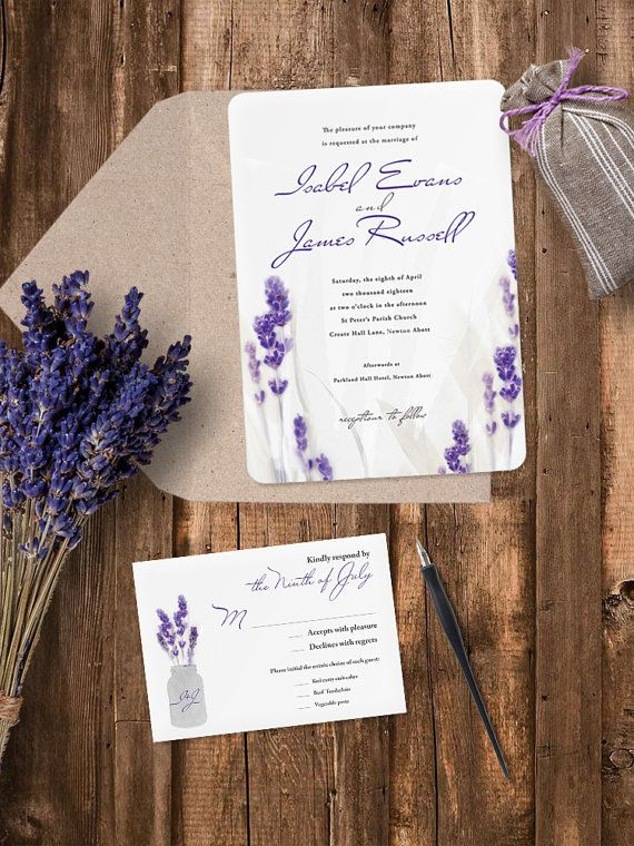 Charming and pretty Lavender Wedding Invitation is available in four trim. Perfect for rustic, garden, outdoor wedding or other feast. Envelope included.   - - - - - - - - - - - - - - - - - - - - - - - - - - THE INVITATION INCLUDES:  ○ Invitation – 5″x7″ – 127x178mm ○ Invitation Envelope – 5″x7″ – 133x184mm   - - - - - - - - - - - - - - - - - - - - - - - - - - PRODUCT DETAILS  ○ Colour - Lavender, Purple ○ Trim - Rectangle, Rounded Edges, Scalloped, Frame ○ Paper - White Smooth 250g/m²…