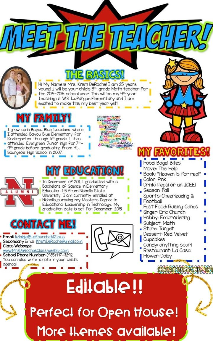 Meet the Teacher Newsletter- EDITABLE - Superhero theme! Perfect for back to school, open house or meet the teacher night! Editable and great for all subject areas and grade levels!