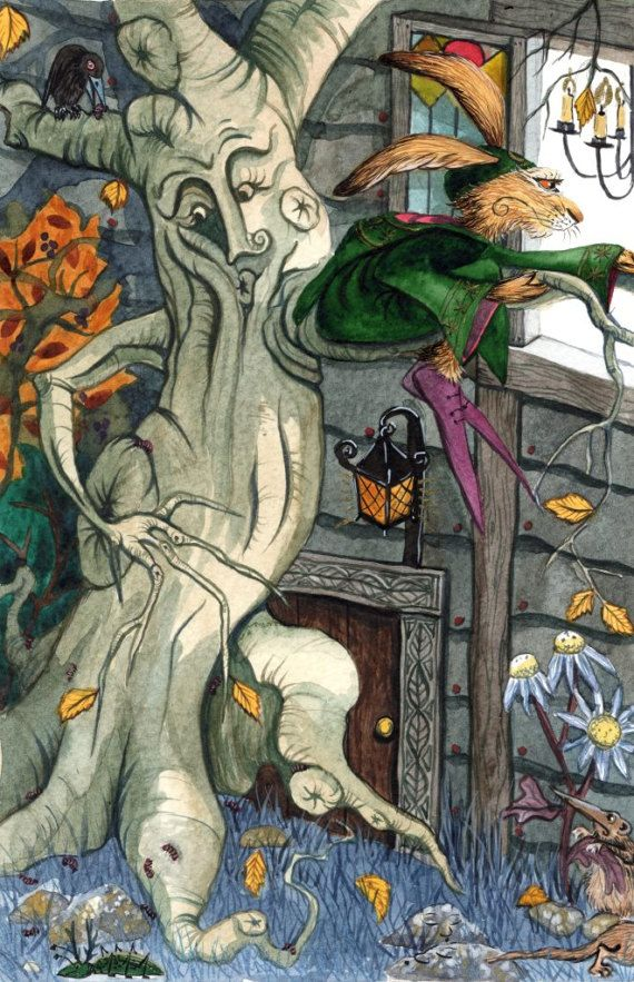 Matlock Looks On... - A3 Print by Jacqui Lovesey from 'The Riddle of Trefflepugga Path' - fantasy tree art hare print.