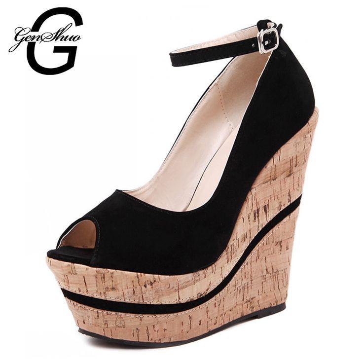Sexy moda feminina fivela mulheres sapatos de cunhas de salto alto plataforma bombas Peep Toe Sapato Feminino alishoppbrasil