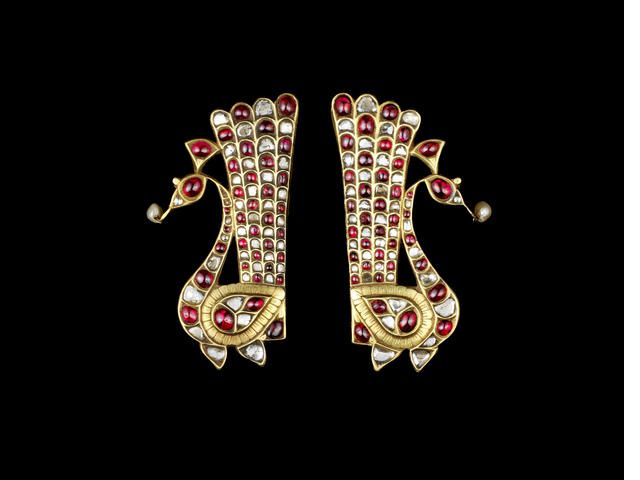 A pair of diamond and ruby-set gold Ear Ornaments South India, late 19th Century(2)