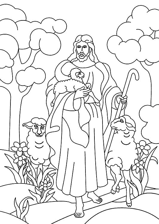 Jesus Is The Good Shepherd Bible Coloring Page