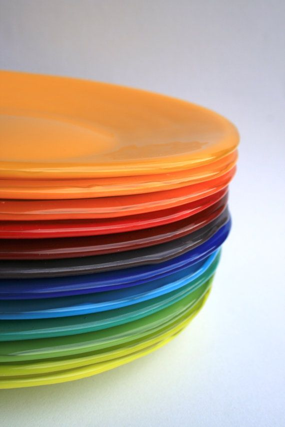 Bright Rainbow Colored Fused Glass Dinner Plate By