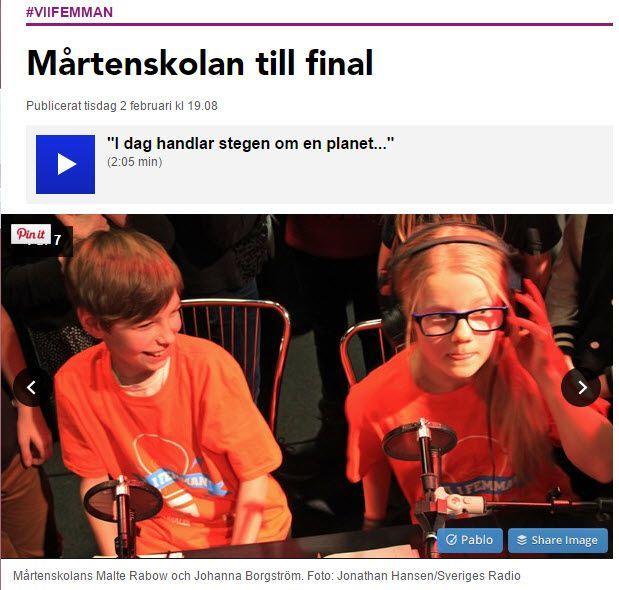 #Mårtenskolan till final i #viifemman http://sverigesradio.se/sida/artikel.aspx?programid=96&artikel=6359534