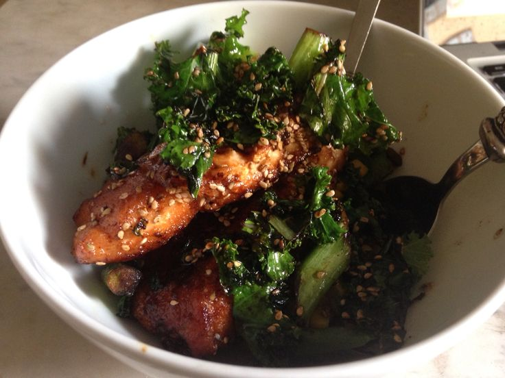 Salmon sesame seed and kale salad is three things that is always in my kitchen