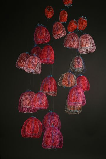 Arline Fisch crochet art.  black raspberry coral