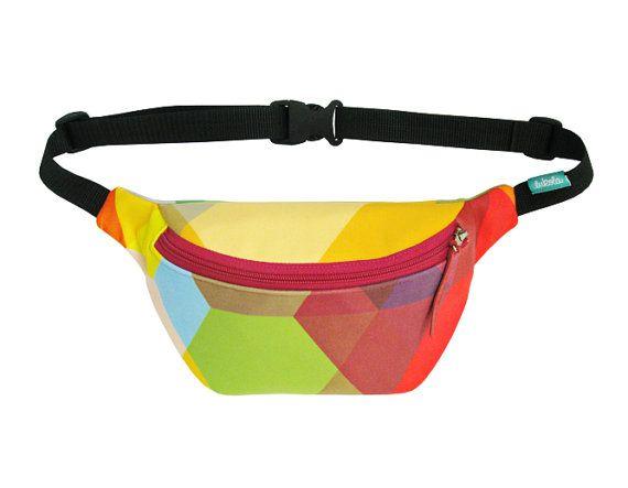Colorful geometric hip bag bike bag fanny pack  by lukola on Etsy