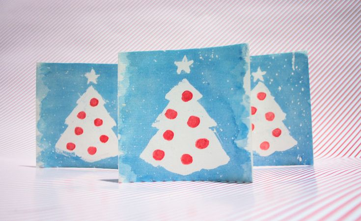 Christmas cards and gifts tags 2014 using watercolour and masking fluid