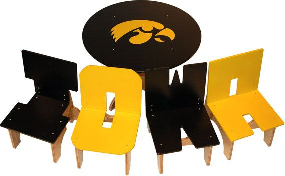 Iowa Hawkeye Table and Chair set from Kazzoinks on etsy - Why didn't I see this before Christmas!!!