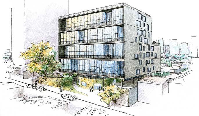 Croqui para edifício residencial com térreo livre, na rua Morato Coelho, de Isay Weinfeld