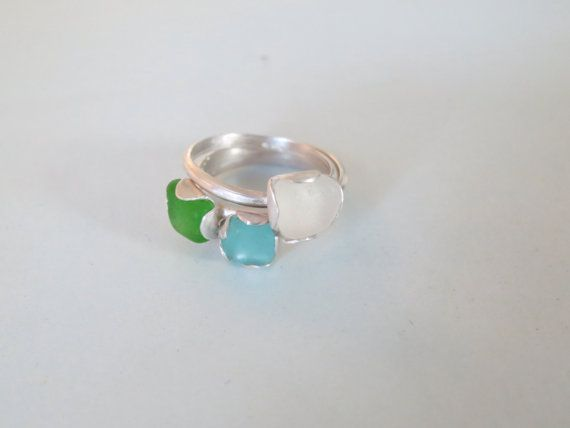 Sterling Silver and Seaglass Trio or by Artistic925Jewellery, $50.00