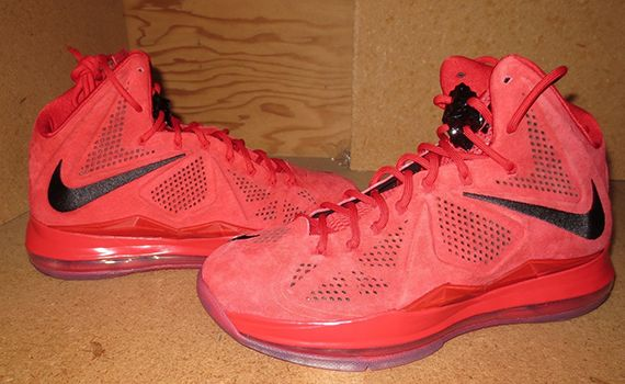 Hot Online Nike LeBron 10s EXT Red Suede Black Red 607078 600