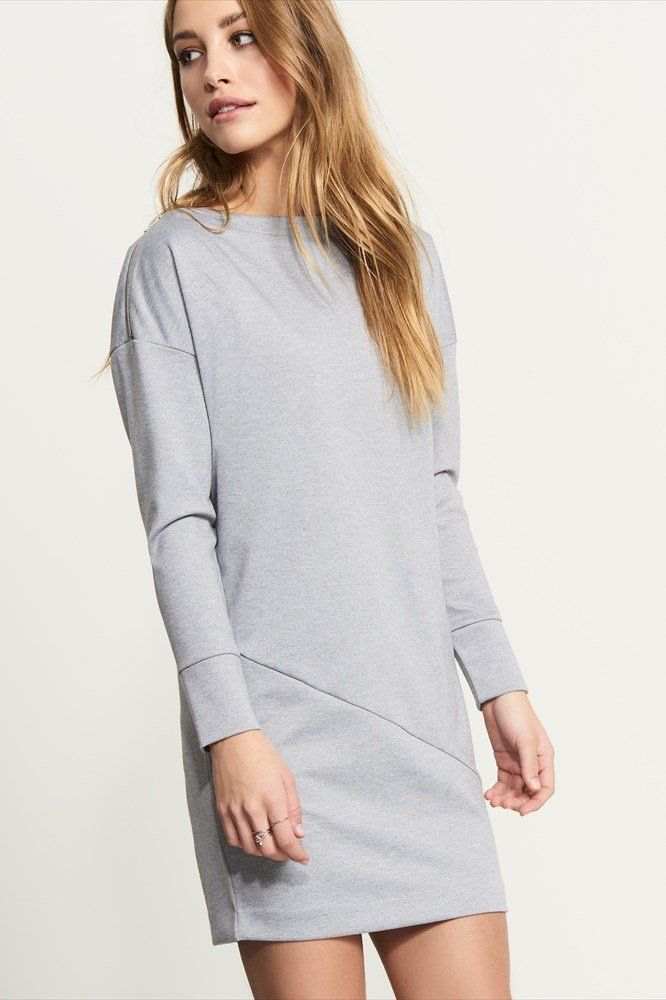 Relaxed Sweatshirt Dress with Zip.