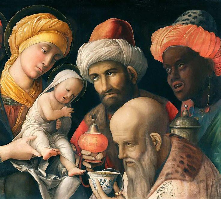 Reis Magos. Representam todas as raças. Andrea Mantegna (1431-1506). J. Paul Getty Museum, Los Angeles.