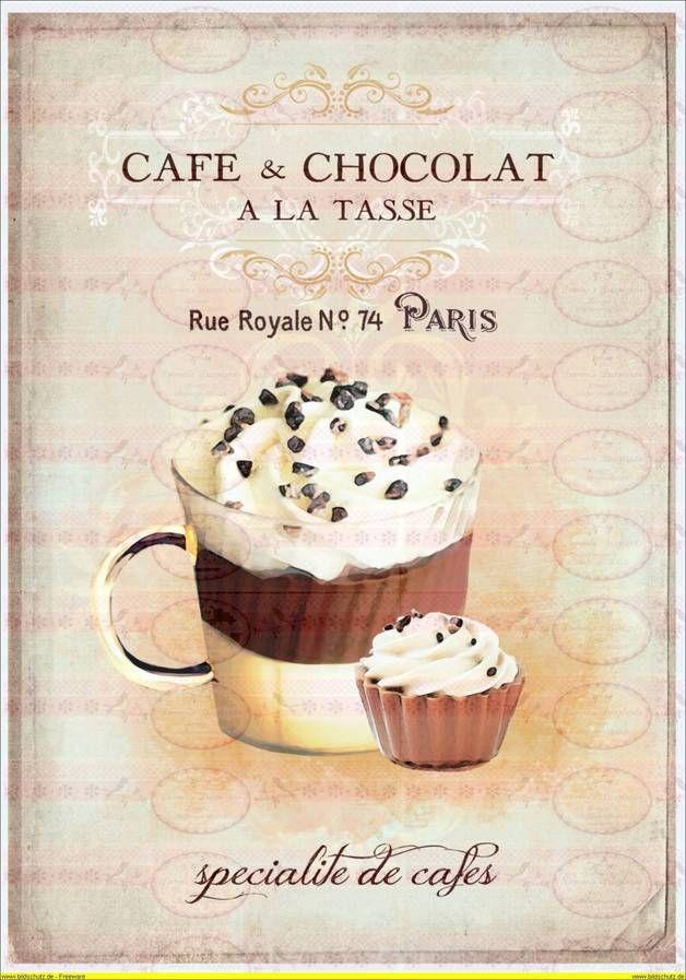 Vintage Shabby Bügelbild Cafe Schokolade Paris