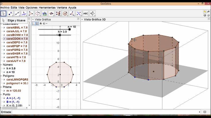 video Geogebra sobre construcción de PRISMAS y cálculo de áreas y Volúmnes de PRISMAS.