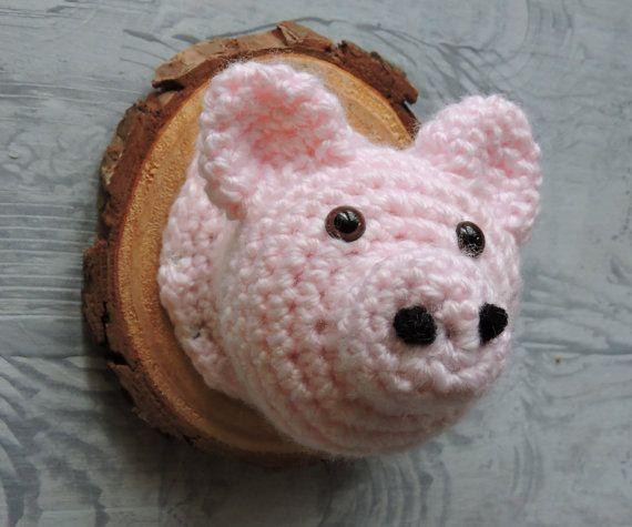 Faux Taxidermy Pig crochet farm animal nursery by outofthedoor