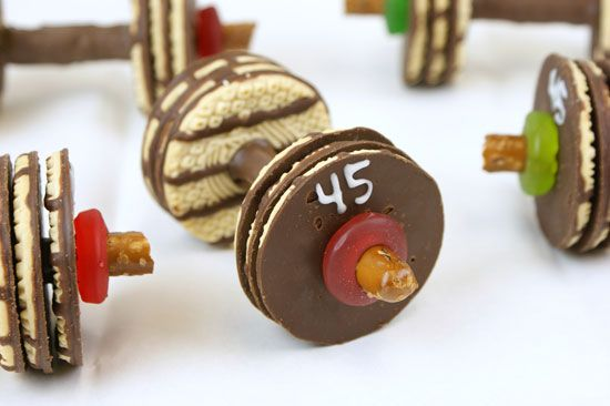 barbell cookies for J's b-day from Ms. Candiquick