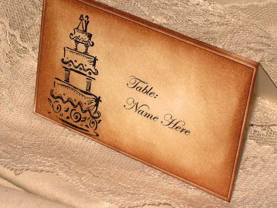 Vintage Style French Elegant Wedding Place Cards with Wedding Cake Original Design