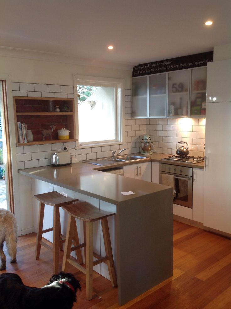 Subway tile kitchen makeover! Exposed brick recessed shelf. Dark grout. All for $300!!